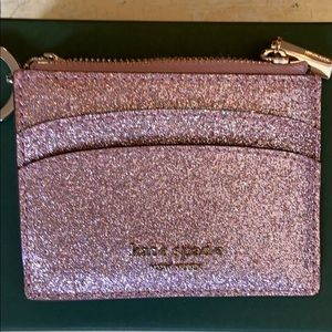Kate Spade Rose Gold Glitter Coin Case NWT